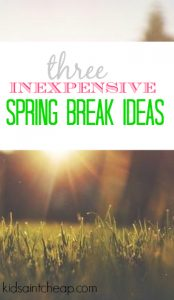 Searching for things for your kids to do during spring break? These three inexpensive spring break ideas are sure to keep them entertained.