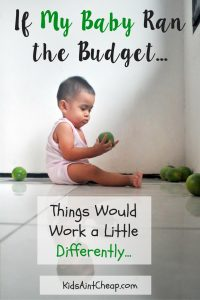 If I let my baby run the budget...things would definitely work differently...