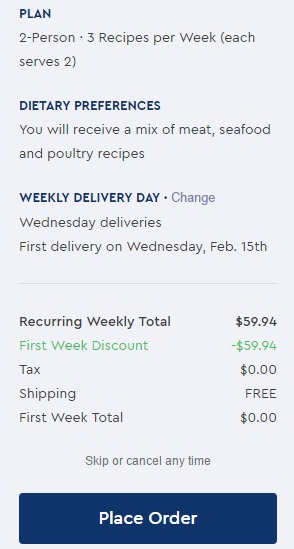 Blue Apron - Place Order screenshot