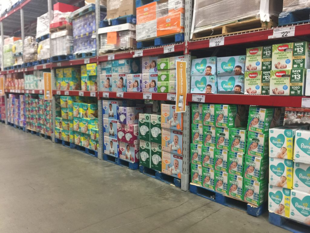 Diapers and Wipe at Sams Club